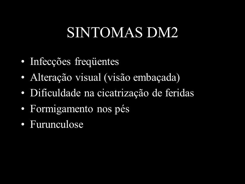 SINTOMAS DM2 Infecções freqüentes Alteração visual (visão embaçada)