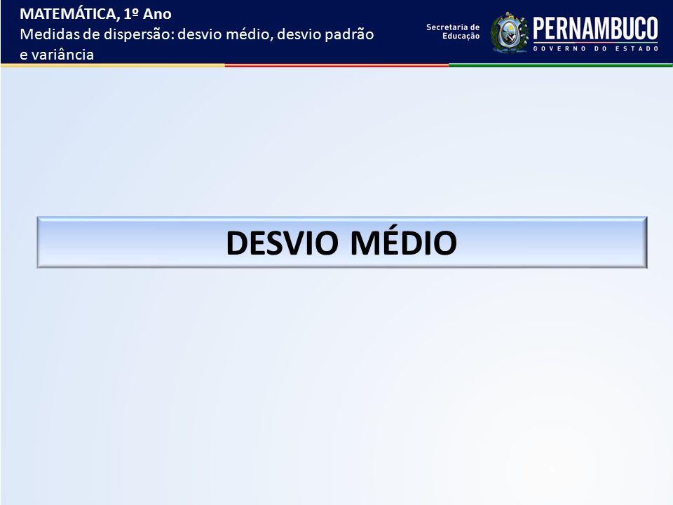 DESVIO MÉDIO MATEMÁTICA, 1º Ano