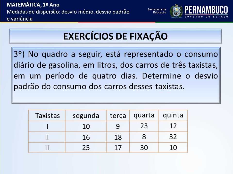 MATEMÁTICA, 1º Ano Medidas de dispersão: desvio médio, desvio padrão e variância. EXERCÍCIOS DE FIXAÇÃO.