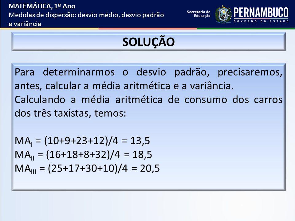 MATEMÁTICA, 1º Ano Medidas de dispersão: desvio médio, desvio padrão e variância. SOLUÇÃO.