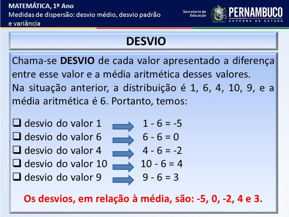 Os desvios, em relação à média, são: -5, 0, -2, 4 e 3.