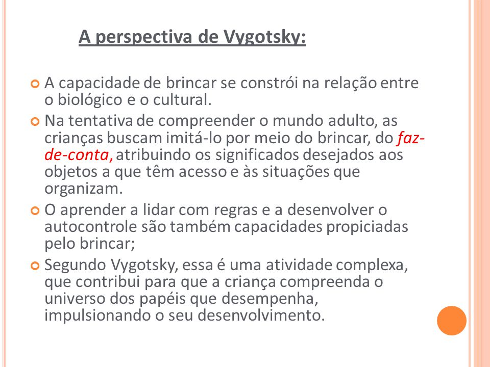 A perspectiva de Vygotsky: