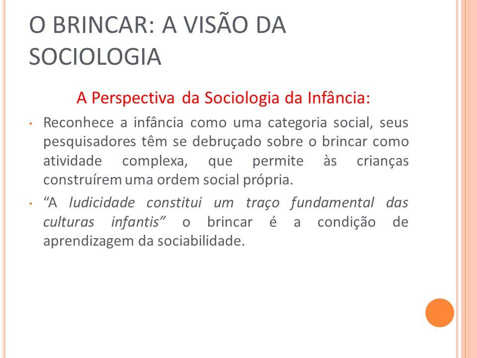 O BRINCAR: A VISÃO DA SOCIOLOGIA