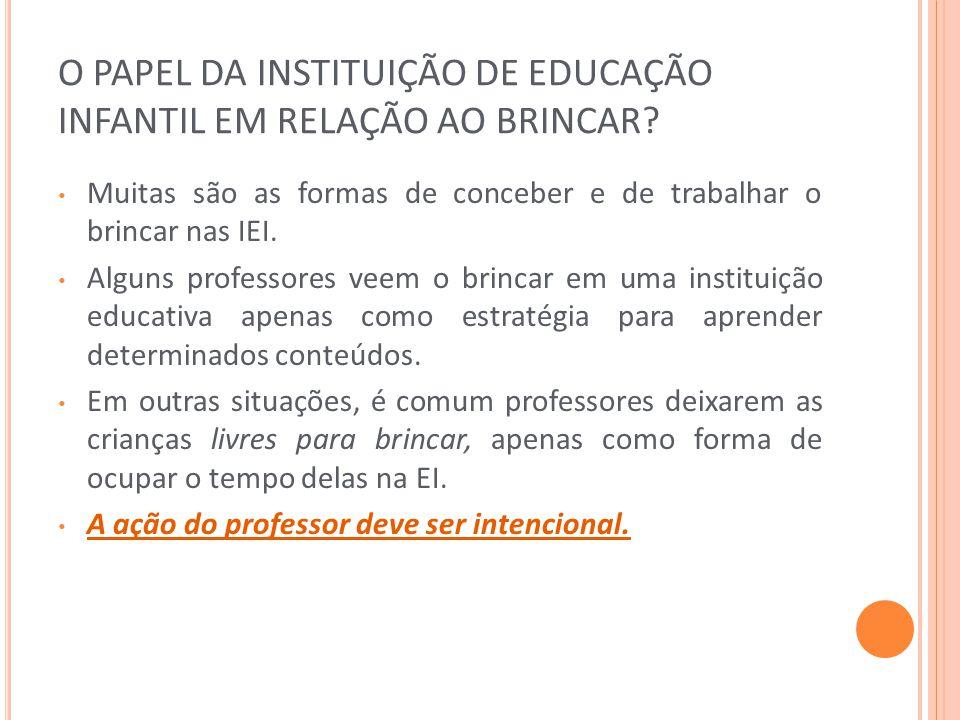 O PAPEL DA INSTITUIÇÃO DE EDUCAÇÃO INFANTIL EM RELAÇÃO AO BRINCAR
