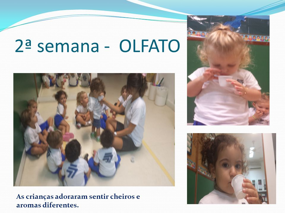 2ª semana - OLFATO As crianças adoraram sentir cheiros e aromas diferentes.