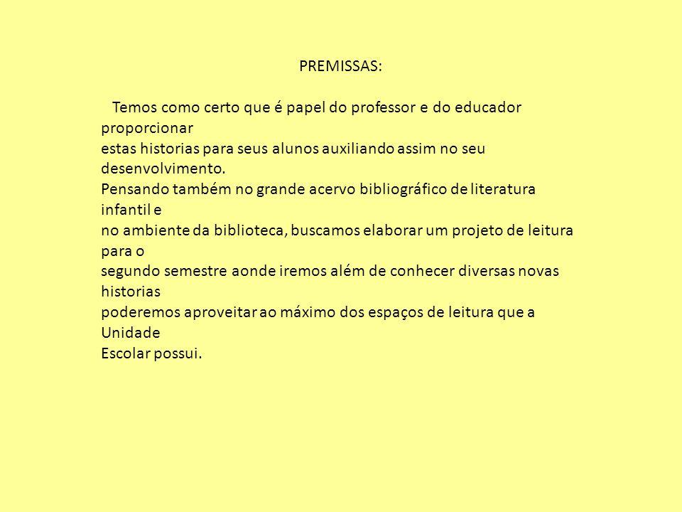 PREMISSAS: Temos como certo que é papel do professor e do educador proporcionar.