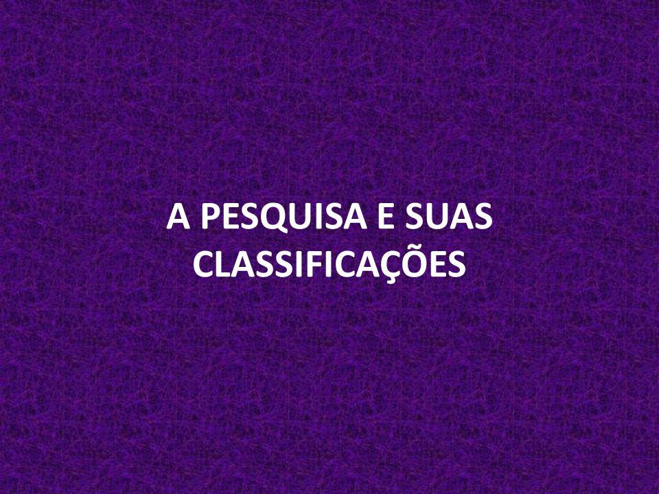 A PESQUISA E SUAS CLASSIFICAÇÕES