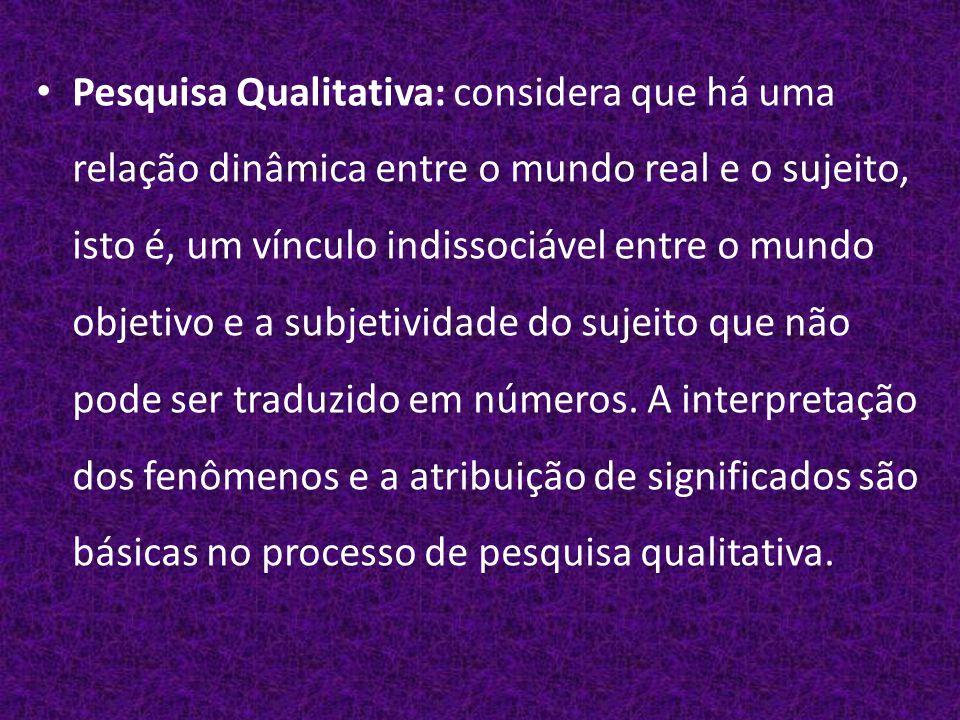 Pesquisa Qualitativa: considera que há uma relação dinâmica entre o mundo real e o sujeito, isto é, um vínculo indissociável entre o mundo objetivo e a subjetividade do sujeito que não pode ser traduzido em números.
