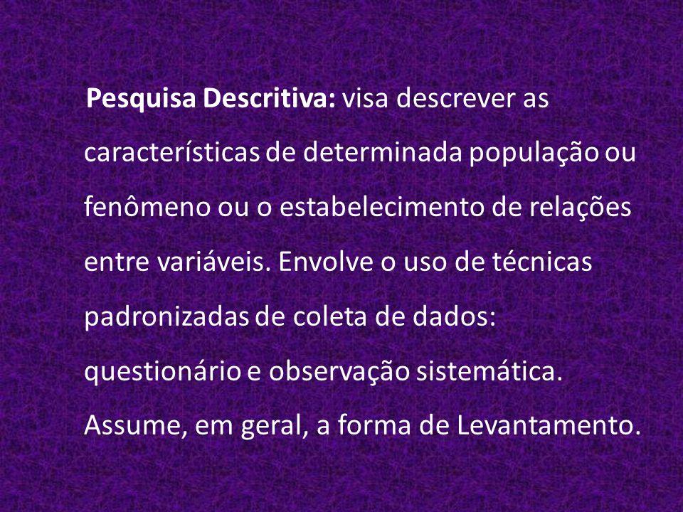 Pesquisa Descritiva: visa descrever as características de determinada população ou fenômeno ou o estabelecimento de relações entre variáveis.