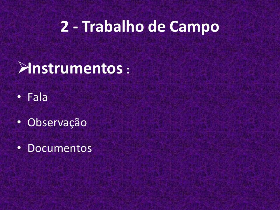 2 - Trabalho de Campo Instrumentos : Fala Observação Documentos