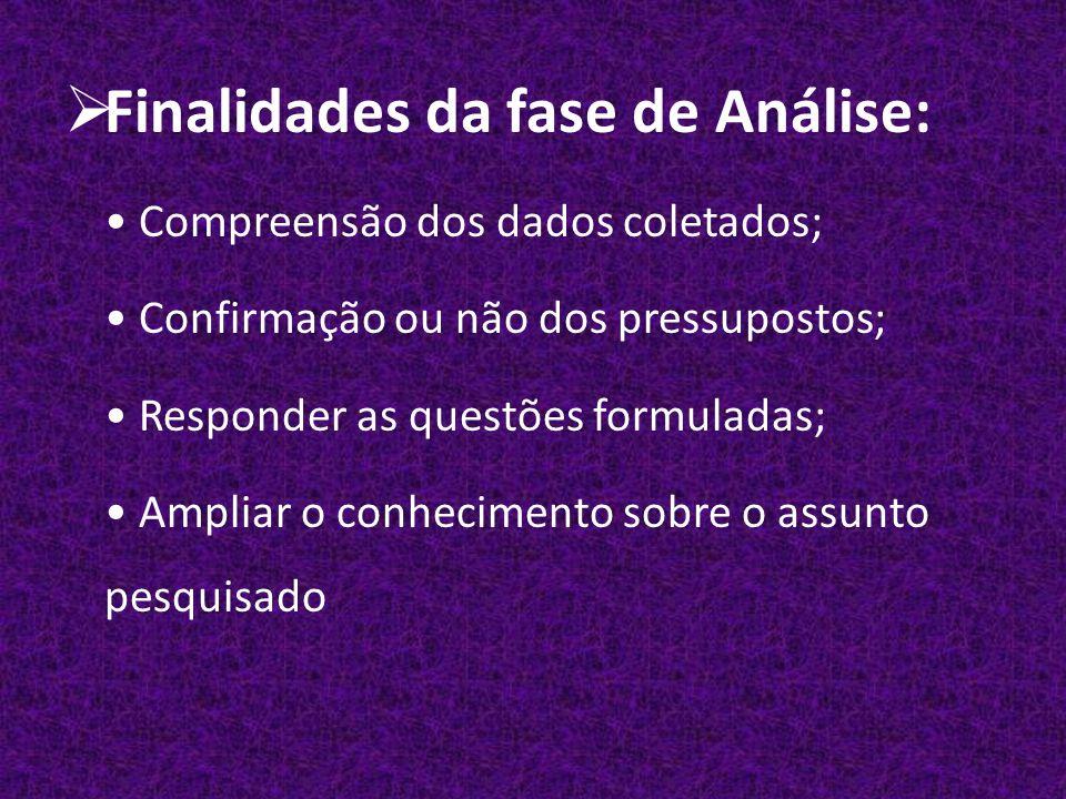 Finalidades da fase de Análise: