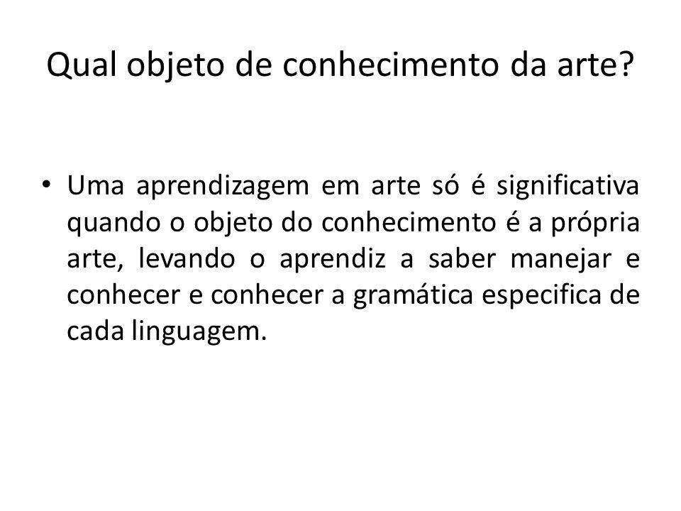 Qual objeto de conhecimento da arte