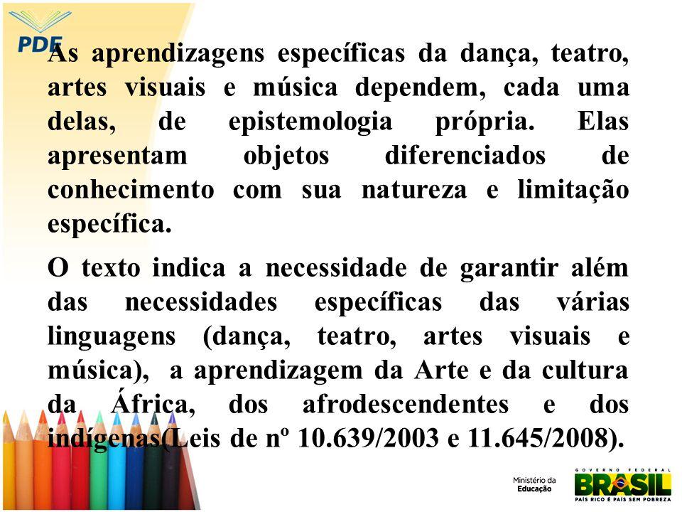 As aprendizagens específicas da dança, teatro, artes visuais e música dependem, cada uma delas, de epistemologia própria. Elas apresentam objetos diferenciados de conhecimento com sua natureza e limitação específica.
