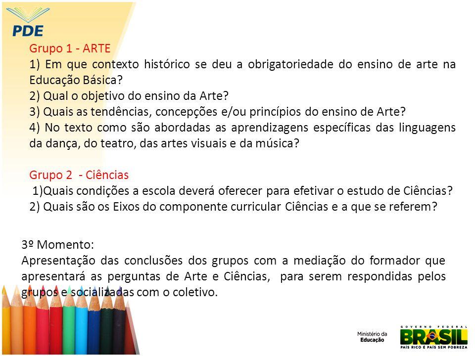 Grupo 1 - ARTE 1) Em que contexto histórico se deu a obrigatoriedade do ensino de arte na Educação Básica