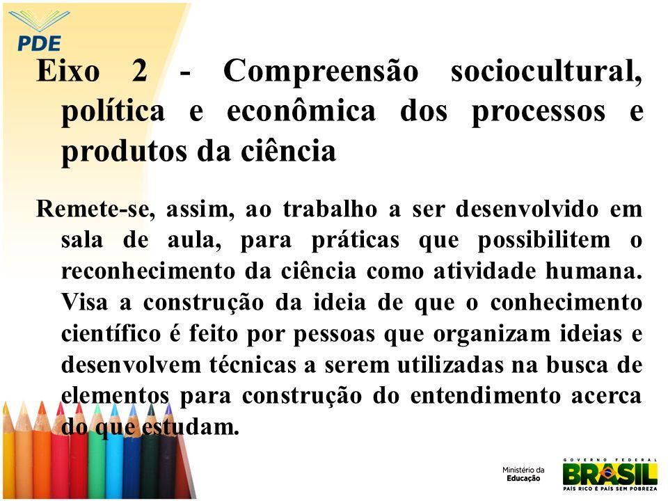 Eixo 2 - Compreensão sociocultural, política e econômica dos processos e produtos da ciência