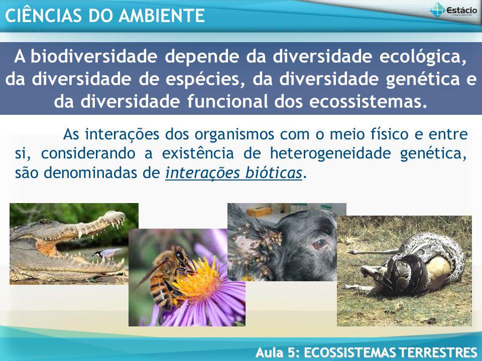 A biodiversidade depende da diversidade ecológica, da diversidade de espécies, da diversidade genética e da diversidade funcional dos ecossistemas.