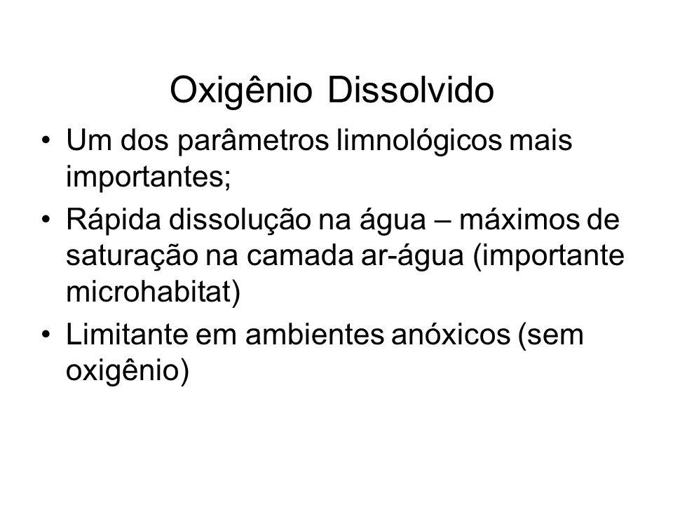 Oxigênio Dissolvido Um dos parâmetros limnológicos mais importantes;