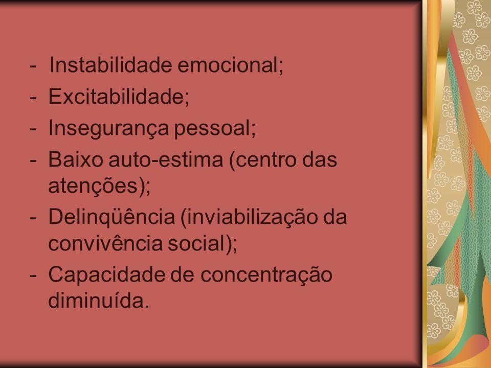 - Instabilidade emocional;