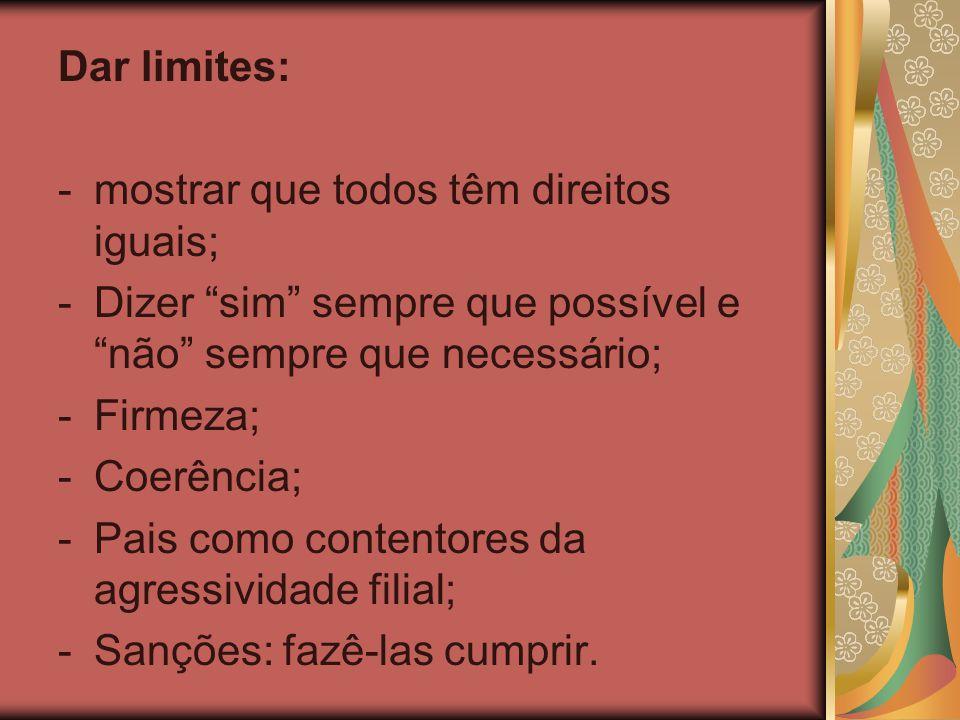 Dar limites: mostrar que todos têm direitos iguais; Dizer sim sempre que possível e não sempre que necessário;
