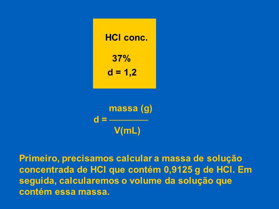 HCl conc. 37% d = 1,2. massa (g) d =  V(mL)