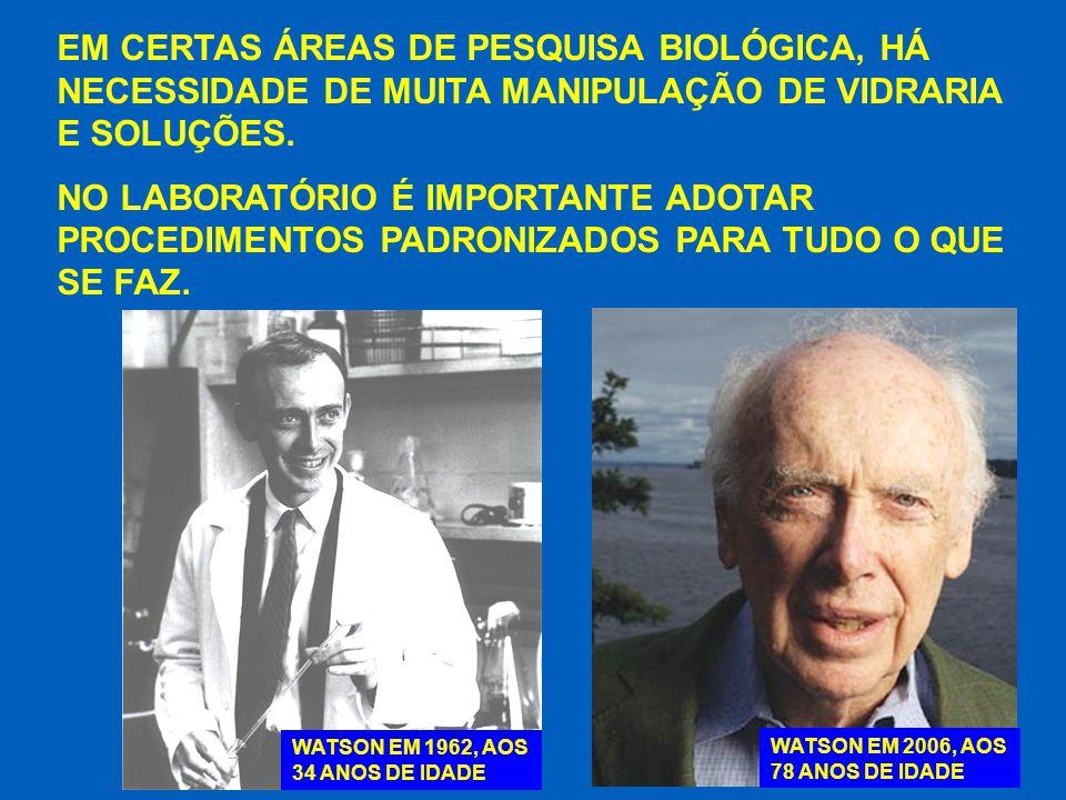 EM CERTAS ÁREAS DE PESQUISA BIOLÓGICA, HÁ NECESSIDADE DE MUITA MANIPULAÇÃO DE VIDRARIA E SOLUÇÕES.