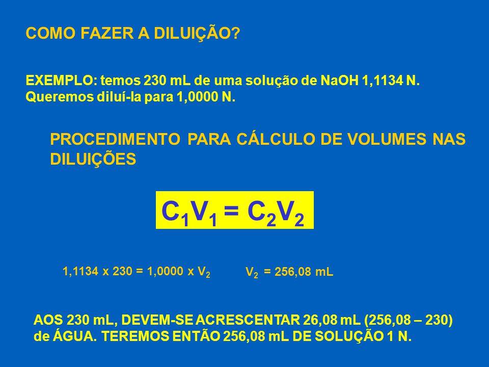 C1V1 = C2V2 COMO FAZER A DILUIÇÃO