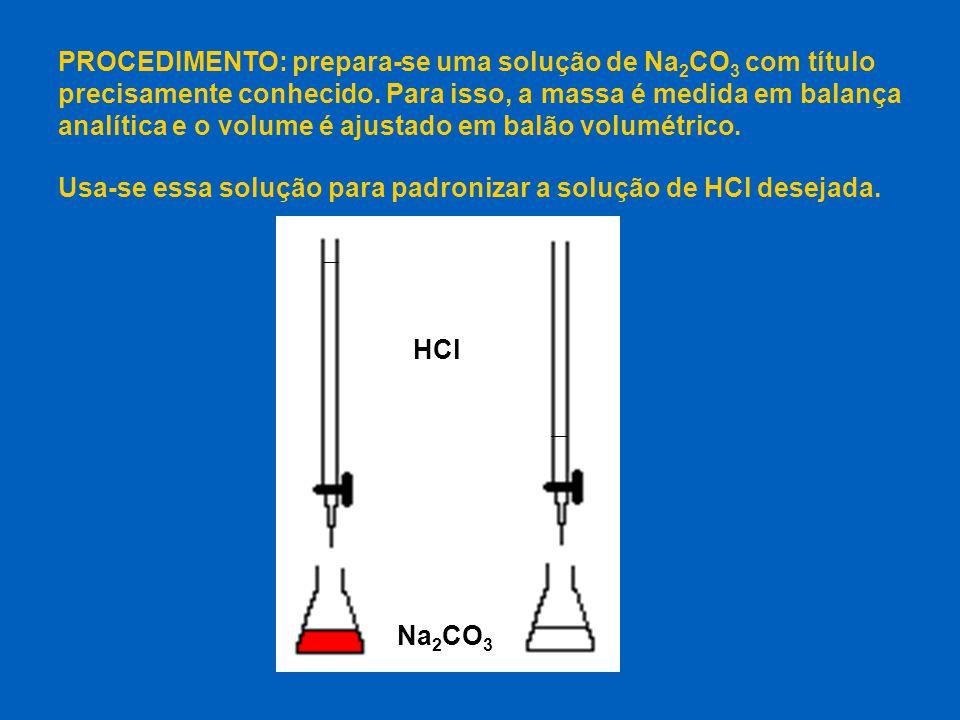 PROCEDIMENTO: prepara-se uma solução de Na2CO3 com título precisamente conhecido. Para isso, a massa é medida em balança analítica e o volume é ajustado em balão volumétrico.