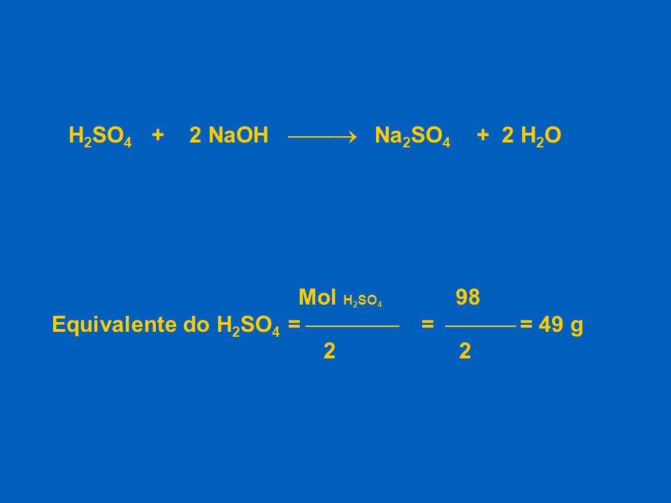 H2SO4 + 2 NaOH  Na2SO4 + 2 H2O Mol H2SO4 98. Equivalente do H2SO4 =  =  = 49 g.