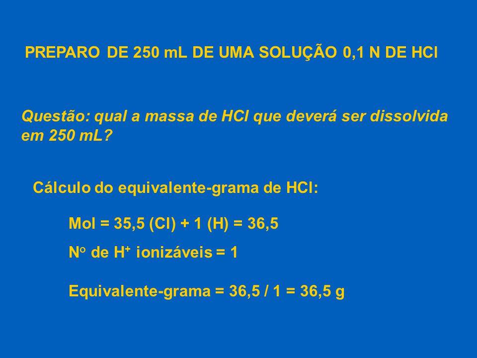 PREPARO DE 250 mL DE UMA SOLUÇÃO 0,1 N DE HCl