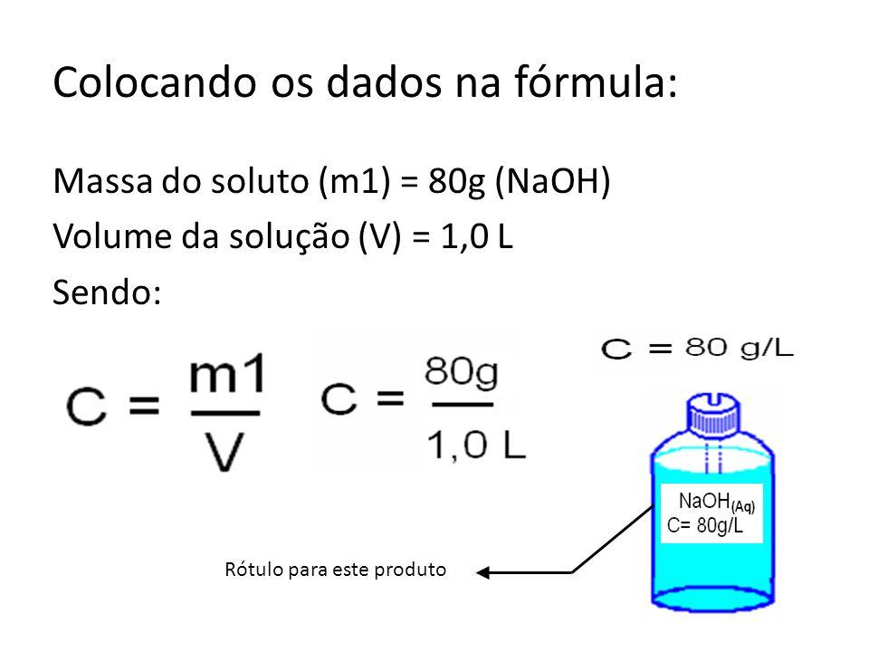 Colocando os dados na fórmula: