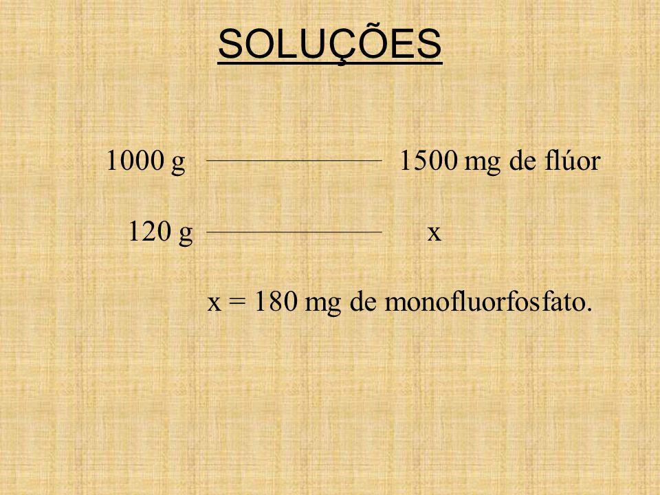 SOLUÇÕES 1000 g 1500 mg de flúor 120 g x