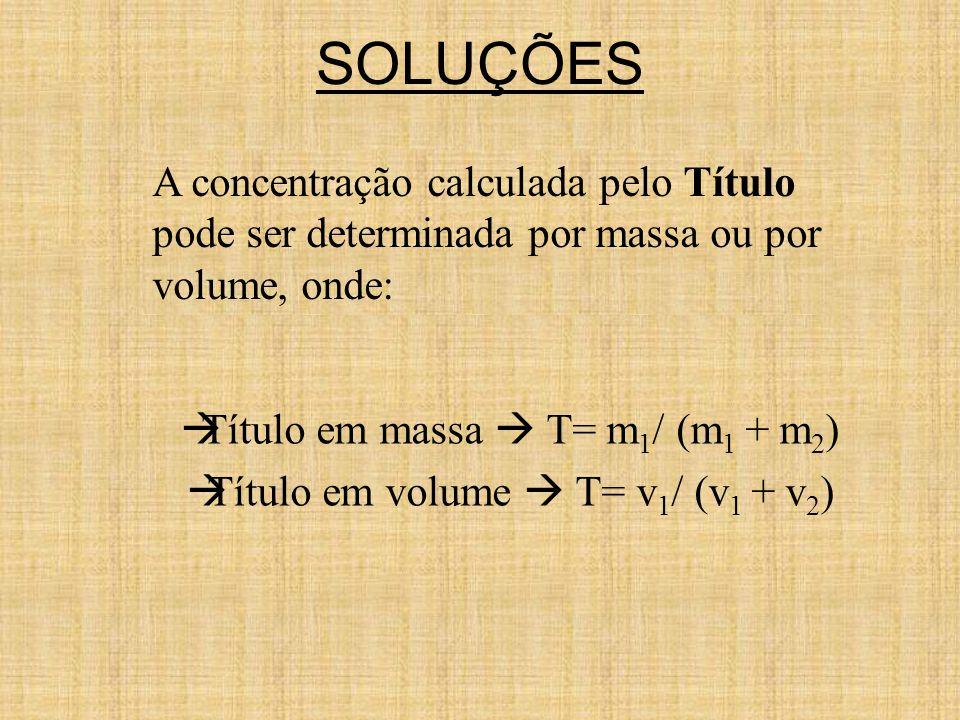 Título em massa  T= m1/ (m1 + m2) Título em volume  T= v1/ (v1 + v2)