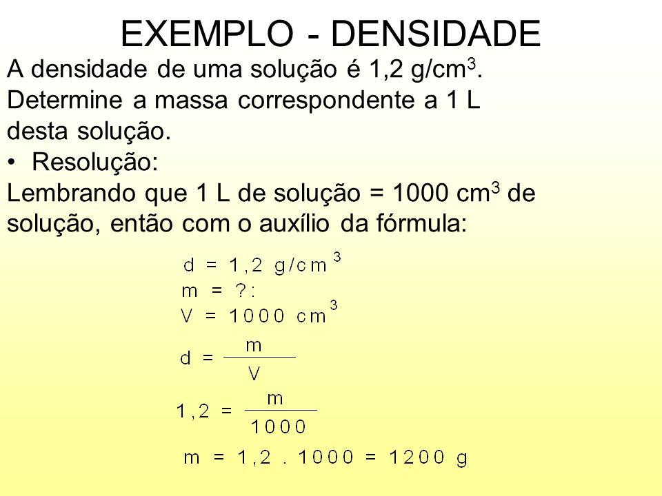 EXEMPLO - DENSIDADE A densidade de uma solução é 1,2 g/cm3.