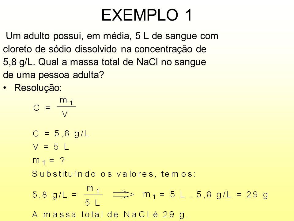 EXEMPLO 1 Um adulto possui, em média, 5 L de sangue com
