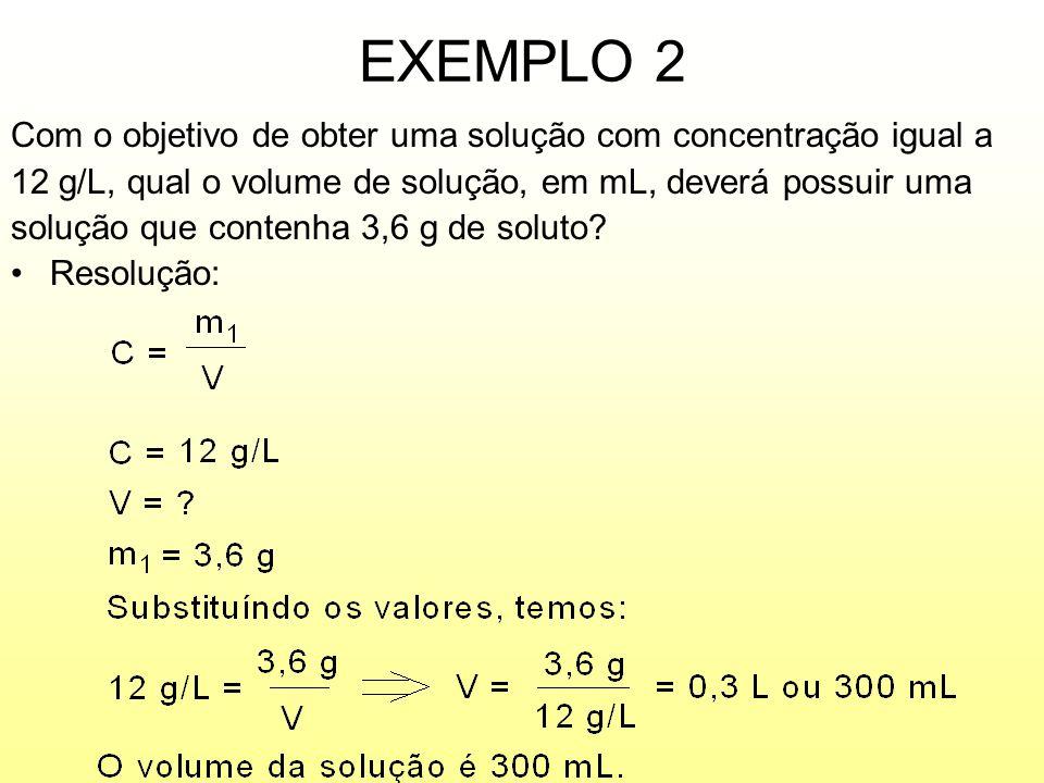 EXEMPLO 2 Com o objetivo de obter uma solução com concentração igual a