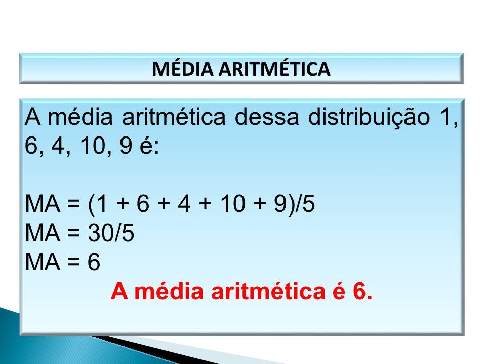 A média aritmética dessa distribuição 1, 6, 4, 10, 9 é: