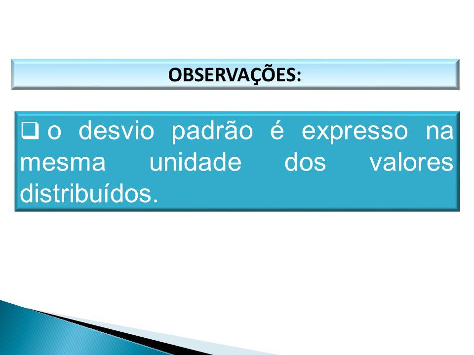 o desvio padrão é expresso na mesma unidade dos valores distribuídos.