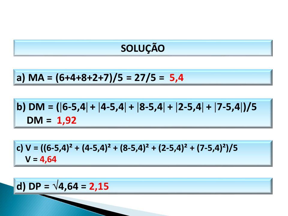 b) DM = (6-5,4 + 4-5,4 + 8-5,4 + 2-5,4 + 7-5,4)/5 DM = 1,92