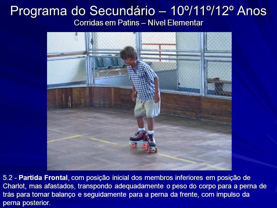 Programa do Secundário – 10º/11º/12º Anos Corridas em Patins – Nível Elementar