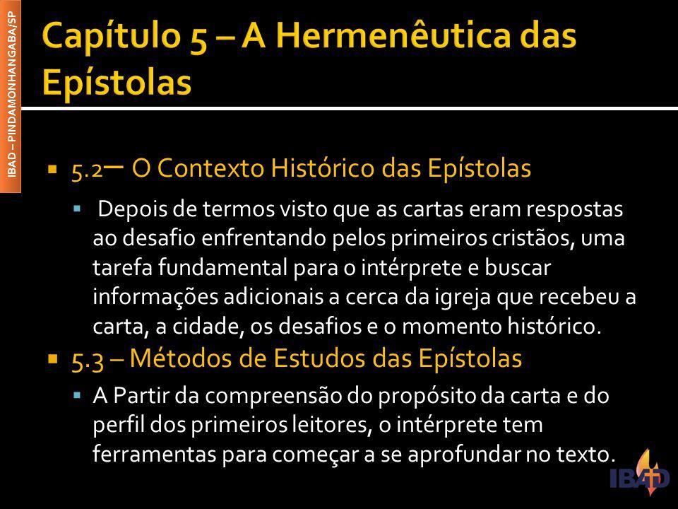Capítulo 5 – A Hermenêutica das Epístolas