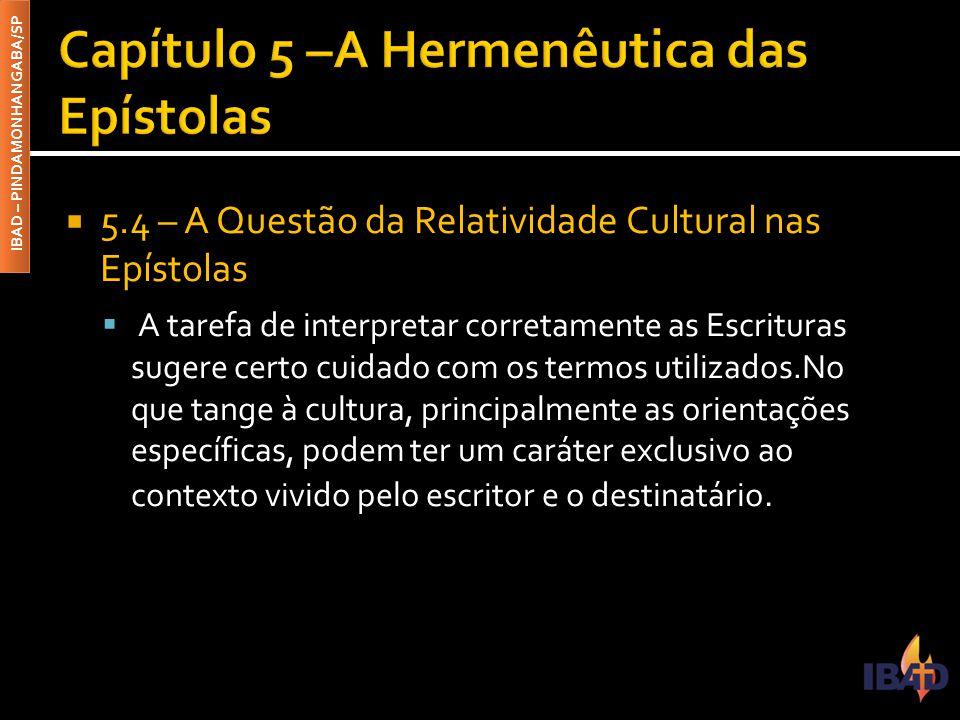 Capítulo 5 –A Hermenêutica das Epístolas
