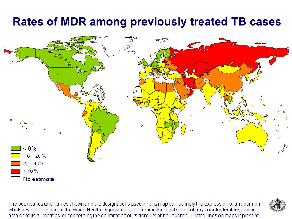 Rates of MDR among previously treated TB cases