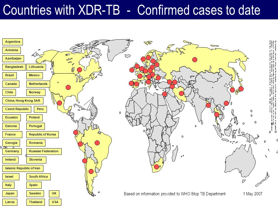Countries with XDR-TB - Confirmed cases to date