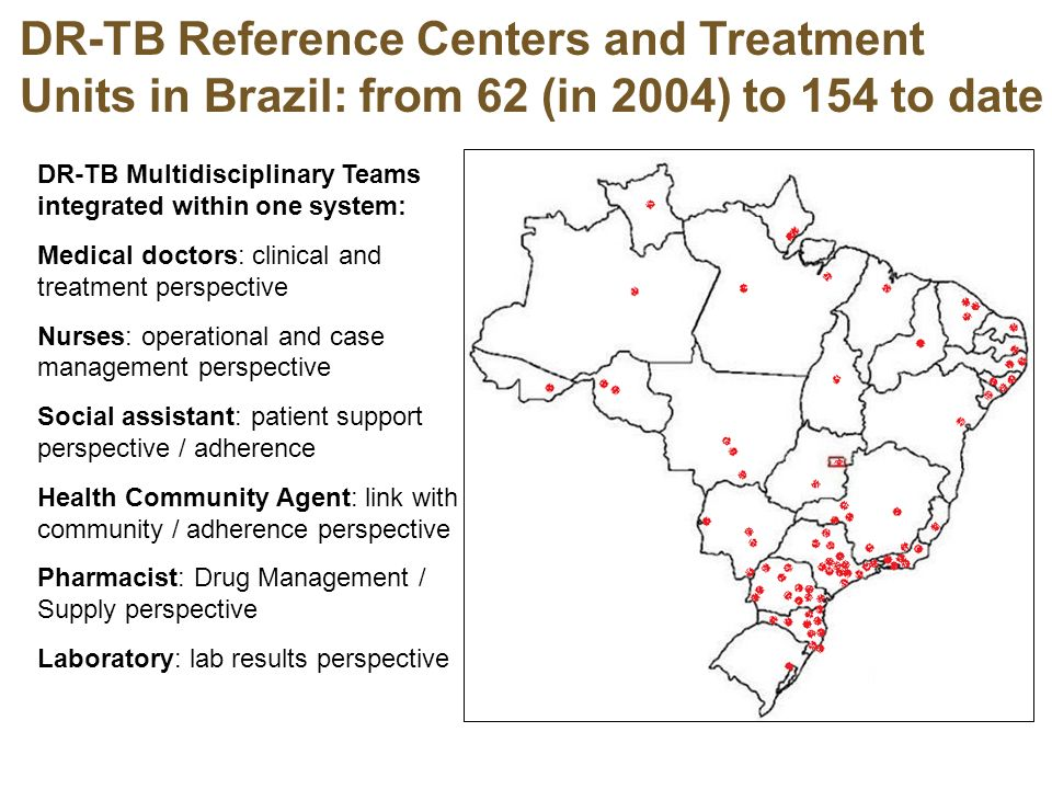 DR-TB Reference Centers and Treatment Units in Brazil: from 62 (in 2004) to 154 to date