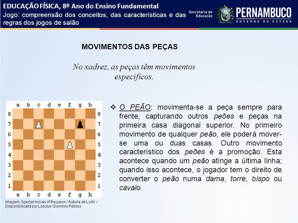 No xadrez, as peças têm movimentos específicos.