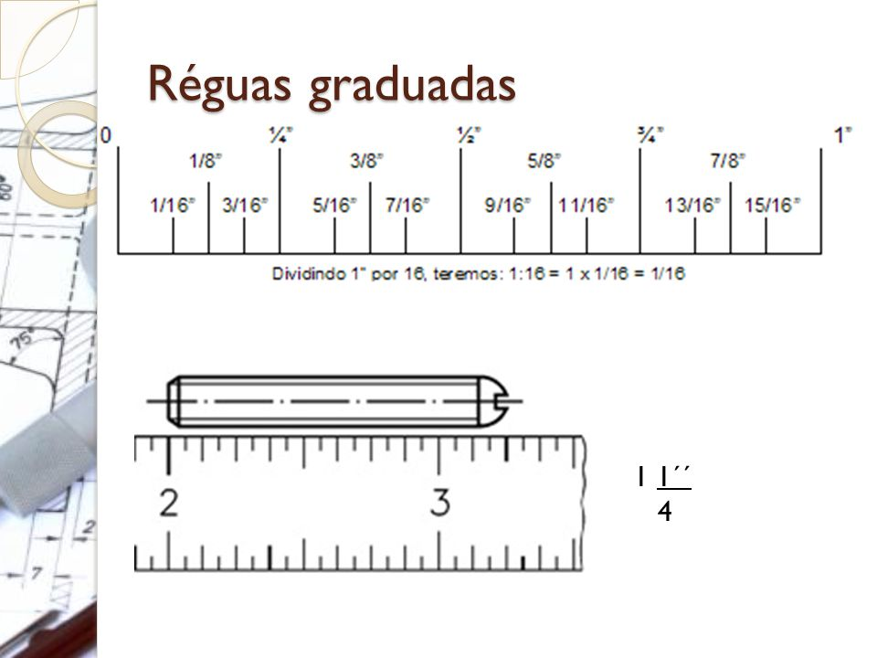Réguas graduadas 1 1´´ 4