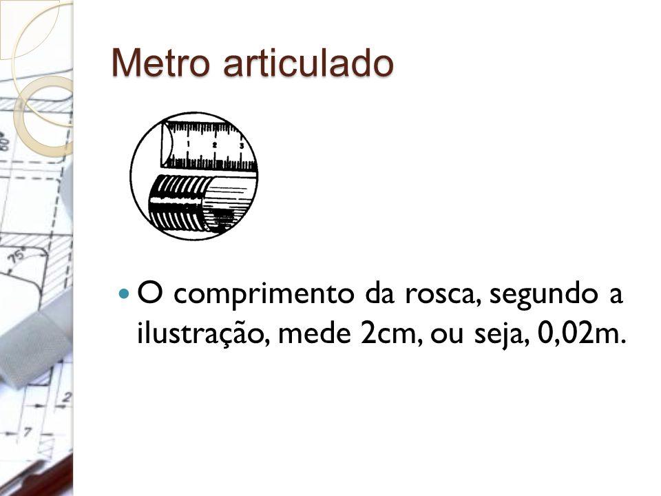 Metro articulado O comprimento da rosca, segundo a ilustração, mede 2cm, ou seja, 0,02m.