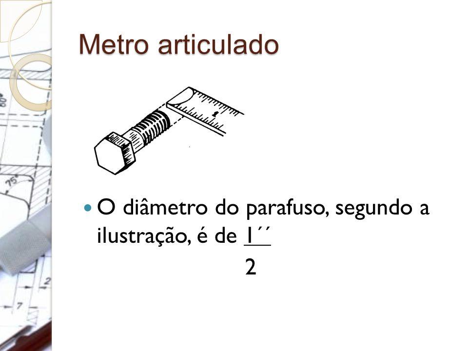 Metro articulado O diâmetro do parafuso, segundo a ilustração, é de 1´´ 2