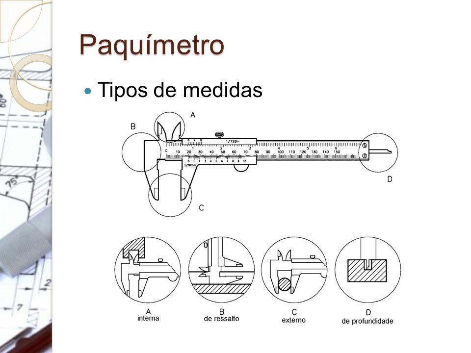 Paquímetro Tipos de medidas