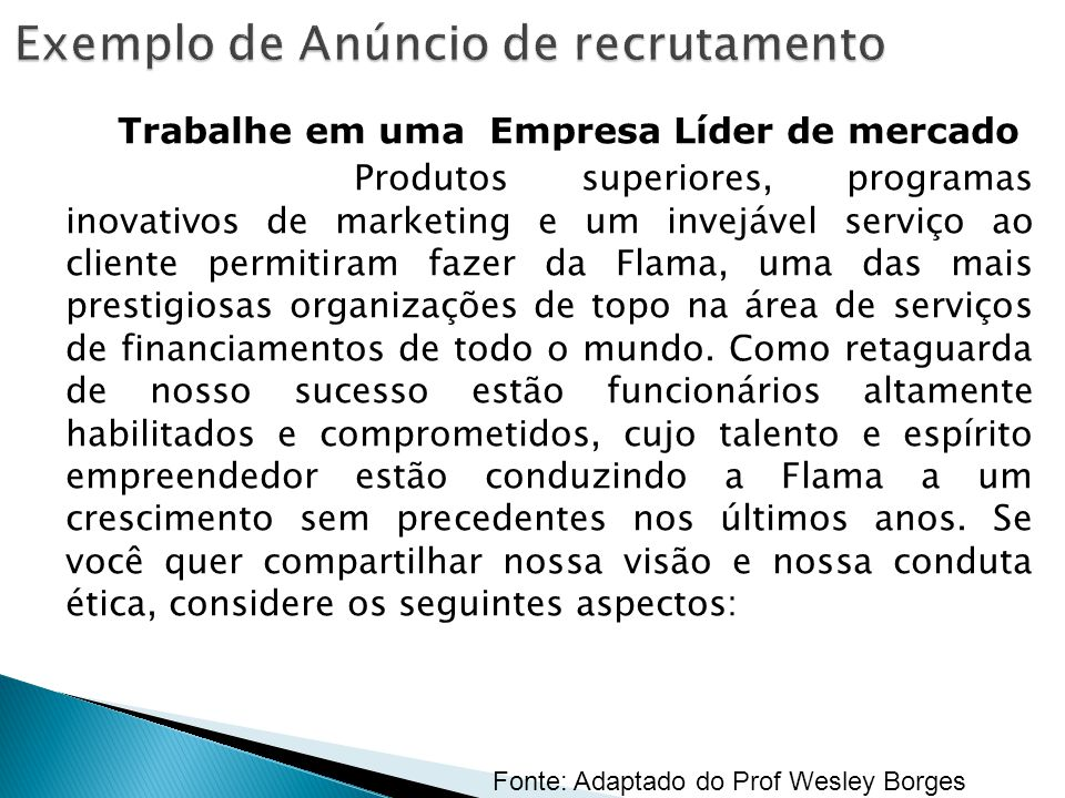 Exemplo de Anúncio de recrutamento